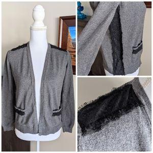LOFT  Gray LaceDetail Open Cardigan Short Length S